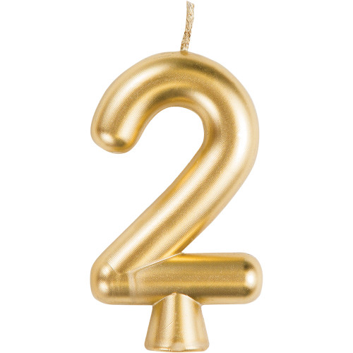 Gold Numeral 2 Birthday Candle