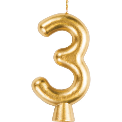 Gold Numeral 3 Birthday Candle