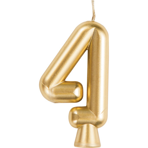 Gold Numeral 4 Birthday Candle