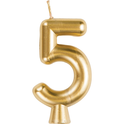 Gold Numeral 5 Birthday Candle