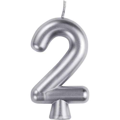Silver Numeral 2 Birthday Candle