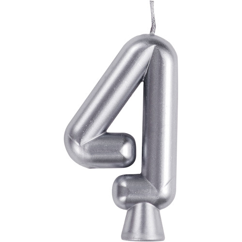 Silver Numeral 4 Birthday Candle