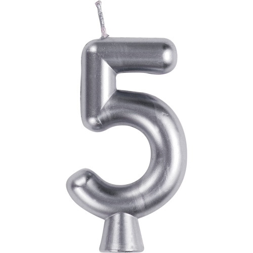 Silver Numeral 5 Birthday Candle