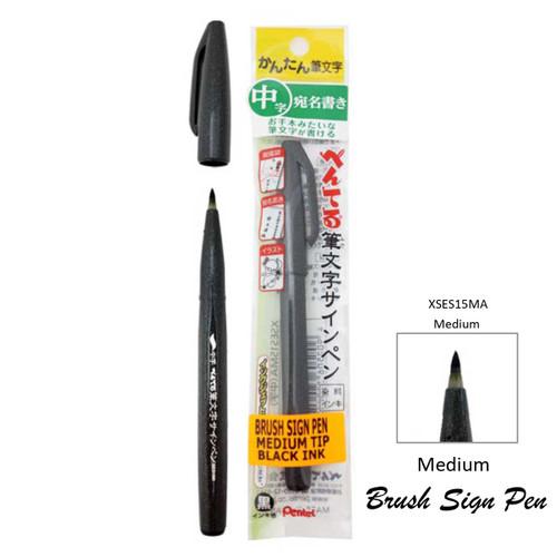 Pentel Brush Sign Pen Medium Black XSES15MA