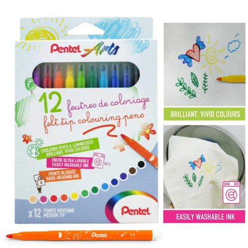 Pentel Washable Color Pen 12pcs/set SCS2E-12