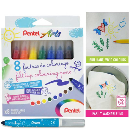 Pentel Washable Color Pen 8pcs/set SCS3E-8