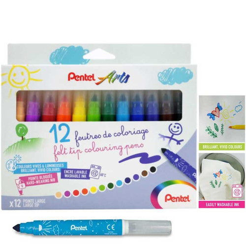Pentel Washable Color Pen 12pcs/set SCS3E-12