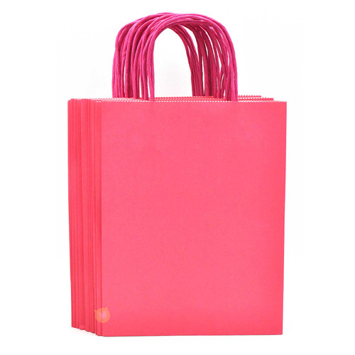 Rose Pink Medium Kraft Paper Gift Bag 12pcs/pack