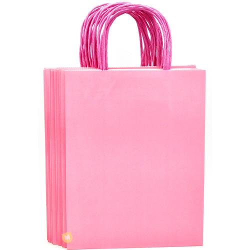 Pink Medium Kraft Paper Gift Bag 12pcs/pack