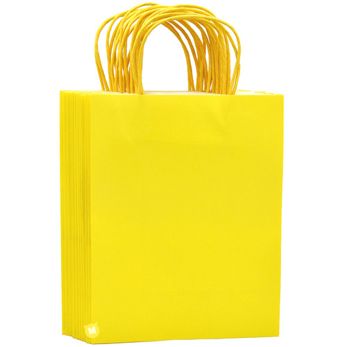 Lemon Yellow Medium Kraft Paper Gift Bag 12pcs/pack