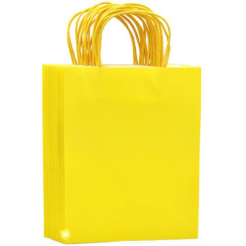 Lemon Yellow Medium Kraft Paper Gift Bag 12pcs/pack