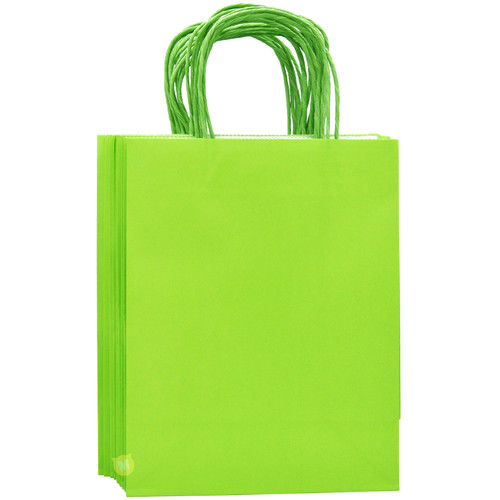 Lime Green Medium Kraft Paper Gift Bag 12pcs/pack