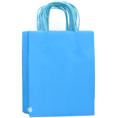 Sky Blue Medium Kraft Paper Gift Bag 12pcs/pack