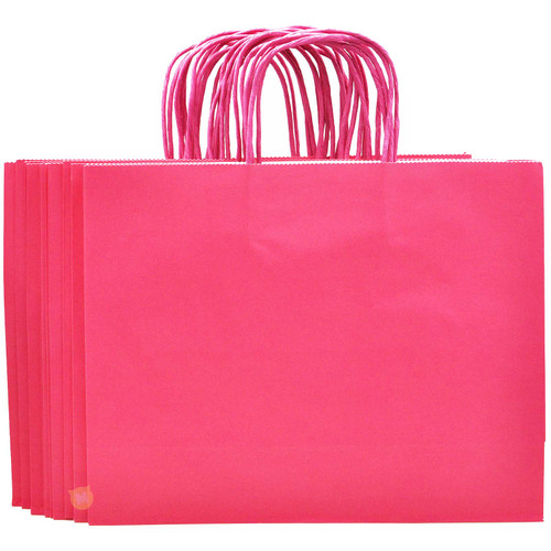 Rose Pink Large Kraft Paper Gift Bag 12pcs/pack