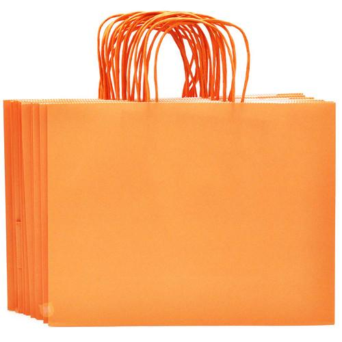 Orange Large Kraft Paper Gift Bag 12pcs/pack