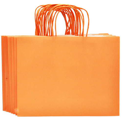 Orange Large Kraft Paper Gift Bag 12pcs/pack