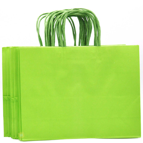 Lime Green Large Kraft Paper Gift Bag 12pcs/pack