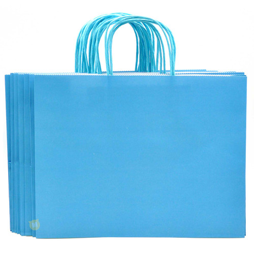 Sky Blue Large Kraft Paper Gift Bag 12pcs/pack