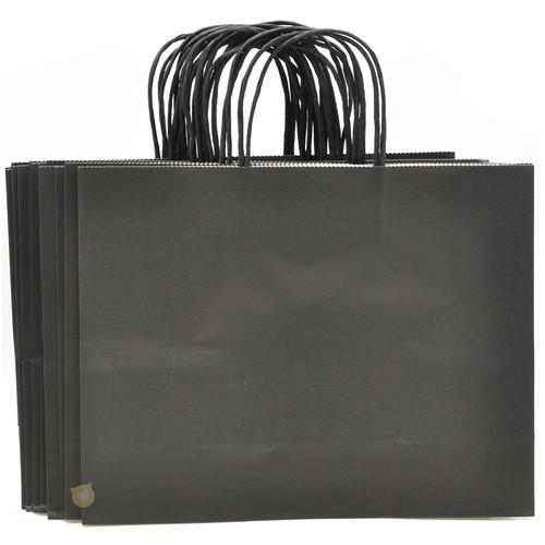 Black Large Kraft Paper Gift Bag 12pcs/pack