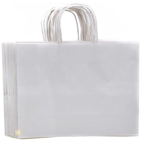 White Large Kraft Paper Gift Bag 12pcs/pack