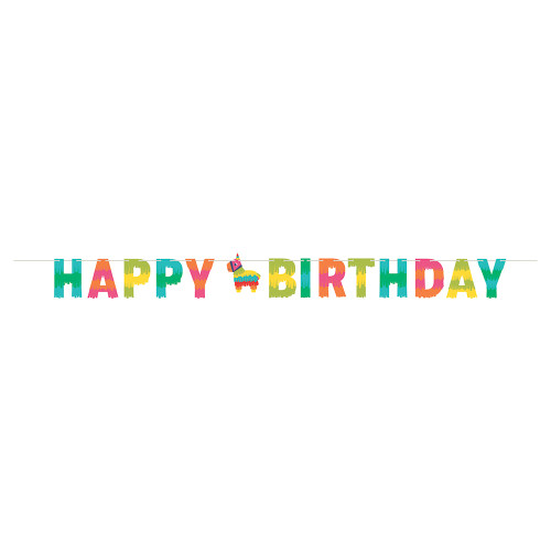 Fiesta Fun Happy Birthday Banner with Twine