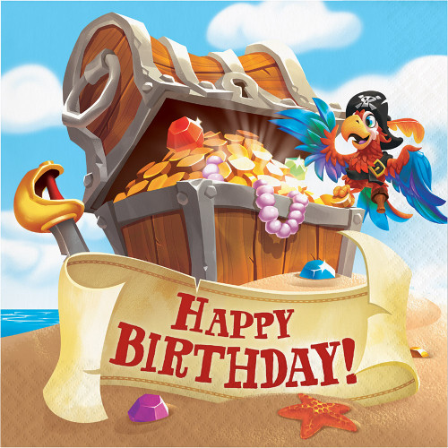 Pirate Treasure Happy Birthday 2-Ply Lunch Napkins