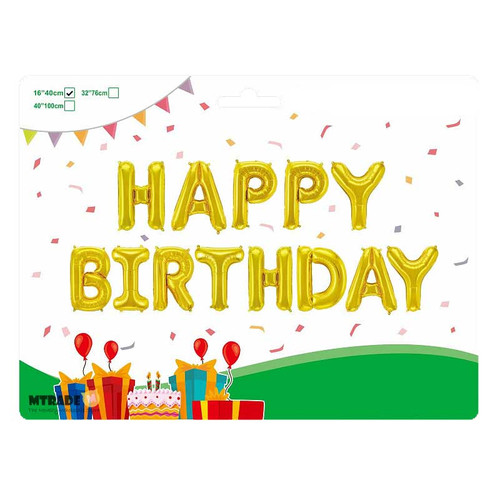 "16"" HAPPY BIRTHDAY Letter Air-Fill Balloon Kit (Gold Color)"