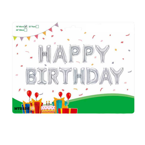 "16"" HAPPY BIRTHDAY Letter Air-Fill Balloon Kit (Silver Color)"