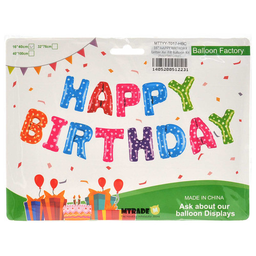 "16"" HAPPY BIRTHDAY Letter Air-Fill Balloon Kit (Assorted Color)"