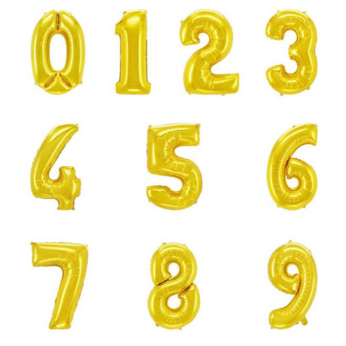 "16"" Gold Number Air-Fill Balloon (Uninflated)"
