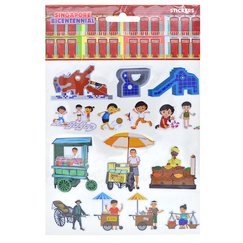 Singapore Bicentennial Old School Games & Stalls Pop Up Sticker