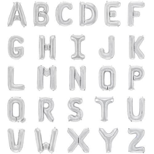 """40"""" Silver Letter Super Shape Balloon (Uninflated)"""