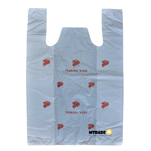 Medium White Plastic Bag with Print Value Pack