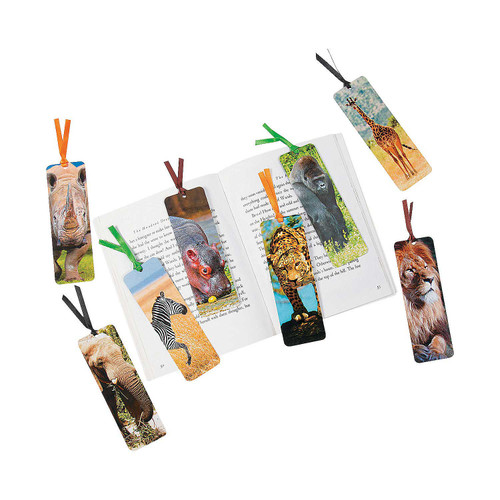Laminated Safari Animal Bookmarks 48pcs/pack