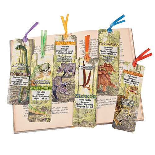 Laminated Dinosaur Bookmarks 48pcs/pack