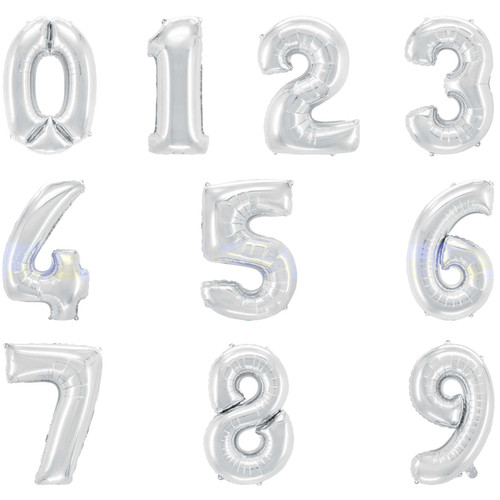 "16"" Silver Number Air-Fill Balloon (Uninflated)"