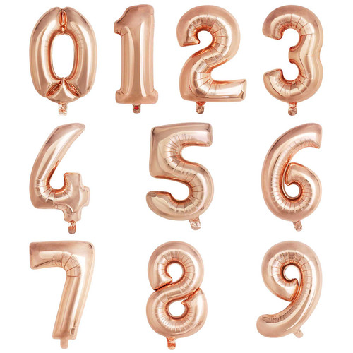 "16"" Rose Gold Number Air-Fill Balloon (Uninflated)"