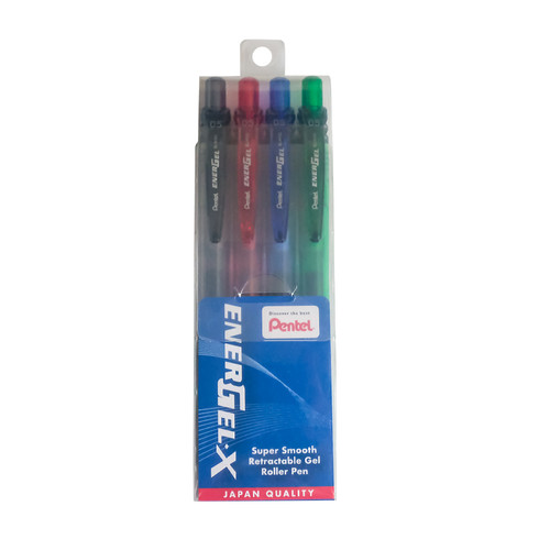 Pentel Energel-X Gel Roller Pen 0.5mm (4 Color/Set BLN105-AD)