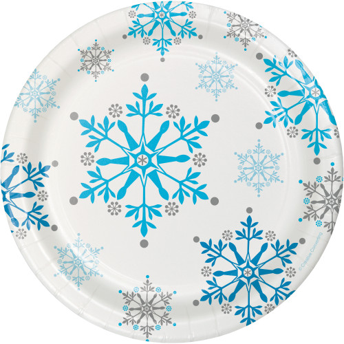 "Snowflake Swirls 7"" Lunch Plates"