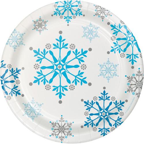 "Snowflake Swirls 7"" Lunch Plates"