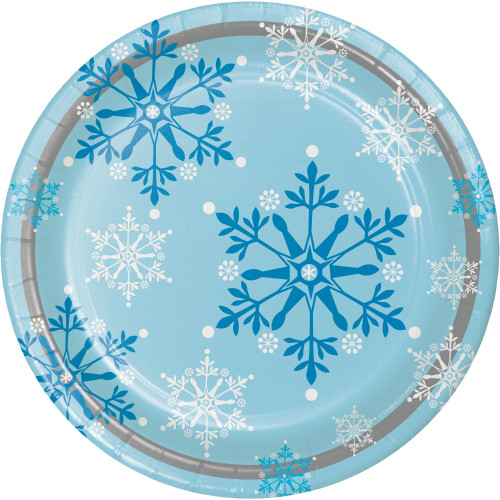 "Snowflake Swirls 9"" Dinner Plates"
