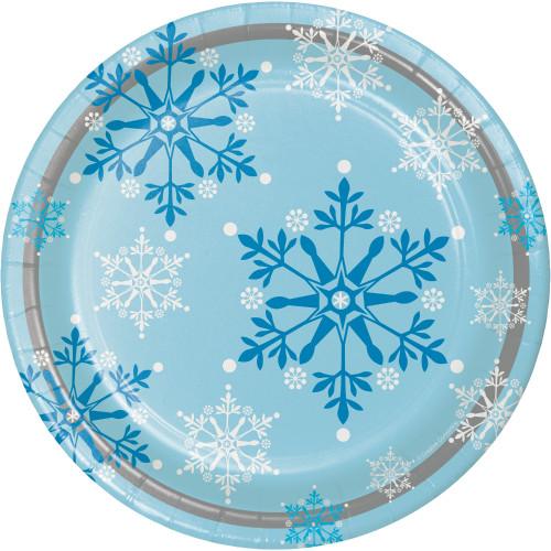 "Snowflake Swirls 9"" Dinner Plates"