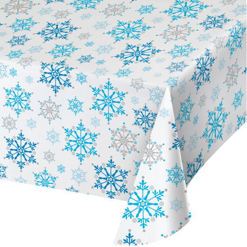 Snowflake Swirls Plastic Tablecover