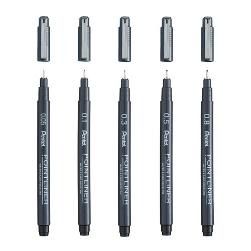 Pentel Pointliner Pen 0.05 - 0.8mm (5 Pcs/Set S20P-5ST)