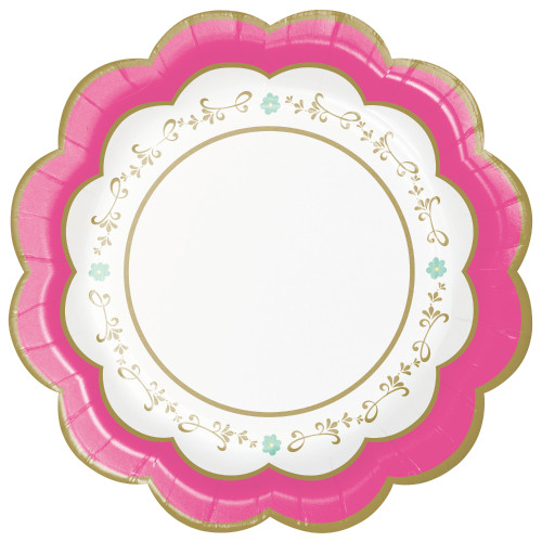 "Floral Tea Party 7"" Scalloped Lunch Plates"