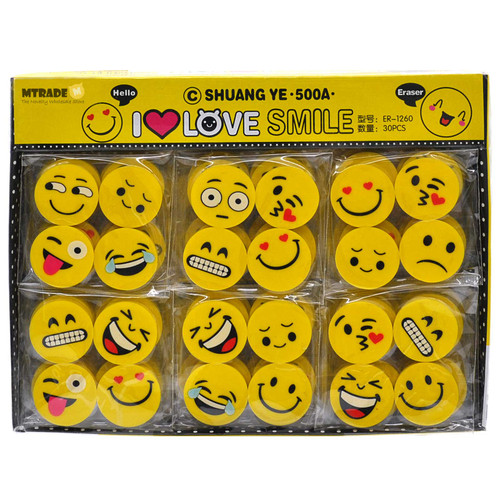 Mini Smile Face Erasers 30 packs/box