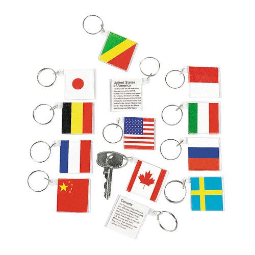 Flags Around The World Acrylic Keychains 12pcs/pack