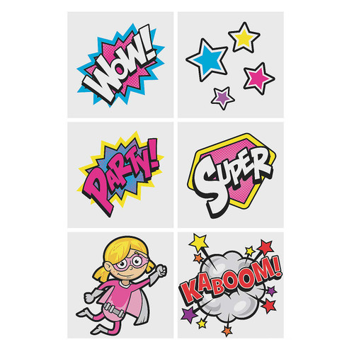 Superhero Girl Temporary Tattoos 36pcs/pack