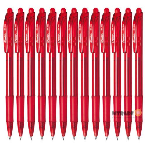 Pentel WOW Retractable Ballpoint Pen 0.7mm BK417-B (Red Ink) 12pcs/box