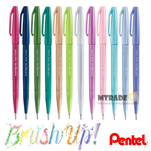 Pentel Touch Brush Sign Pen Pastel Series SES15C